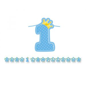 Festone Kit Scritta Maxi 600 x 25 cm Primo Compleanno Celeste