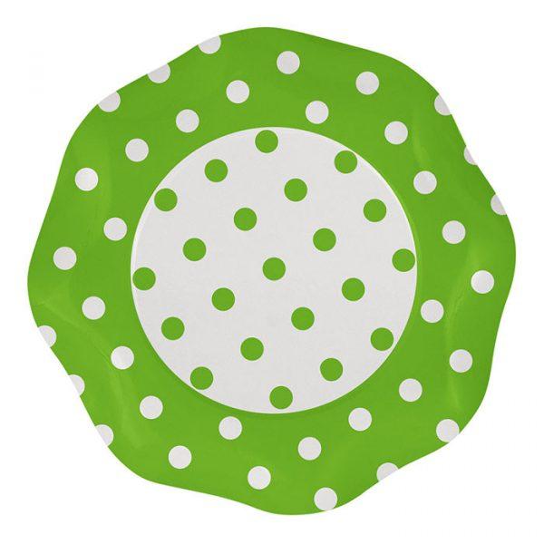 5 Piatti Ø 27 cm Pois Verde Mela