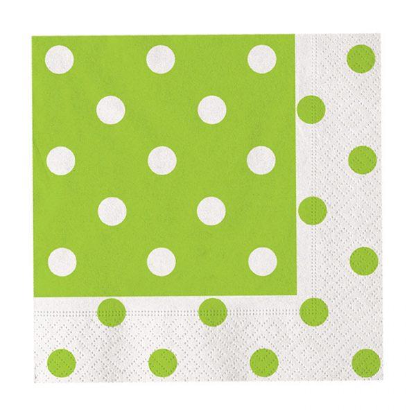 20 Tovaglioli 33 x 33 cm Pois Verde Mela
