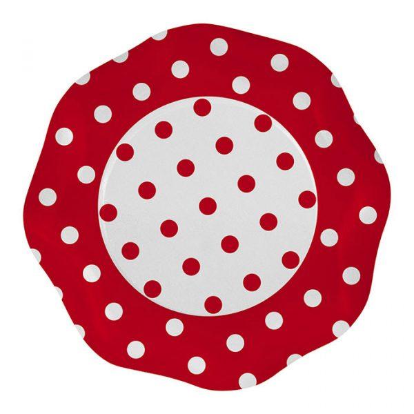 5 Piatti Ø 27 cm Pois Rosso
