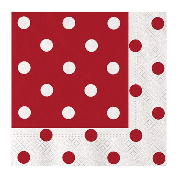 20 Tovaglioli 33 x 33 cm Pois Rosso
