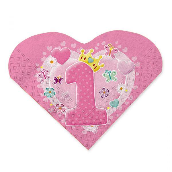 20 Tovaglioli Cuore 33 x 33 cm Primo Compleanno Rosa