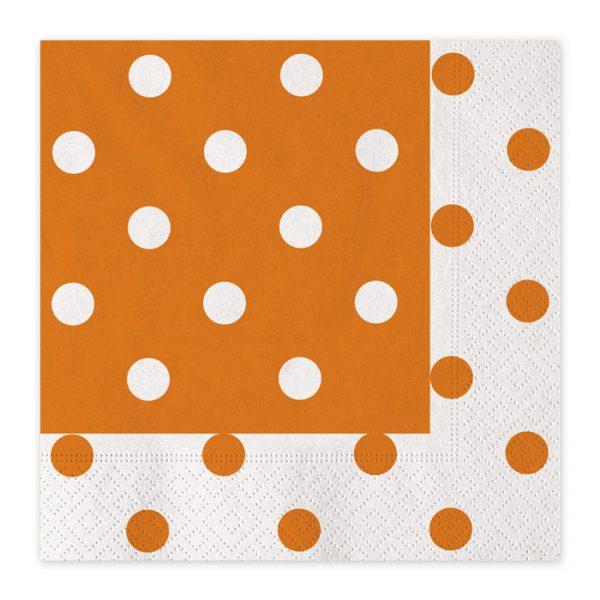 20 Tovaglioli 33 x 33 cm Pois Arancio