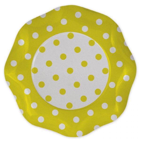 5 Piatti Ø 27 cm Pois Giallo