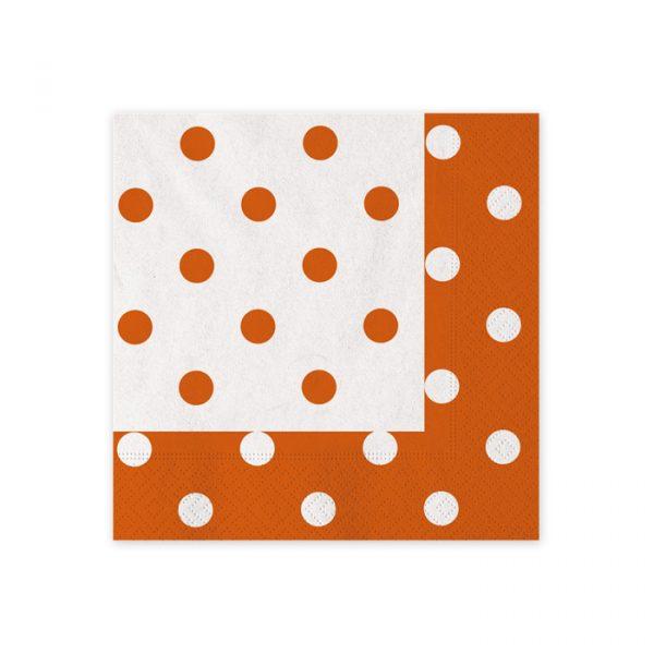 20 Tovaglioli 25 x 25 cm Pois Arancio