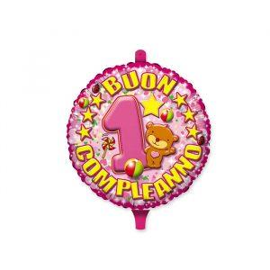 "Palloncino Mylar 18"" Primo Compleanno Toys Rosa"
