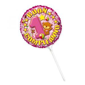 "Palloncino Mylar 9"" Primo Compleanno Toys Rosa"