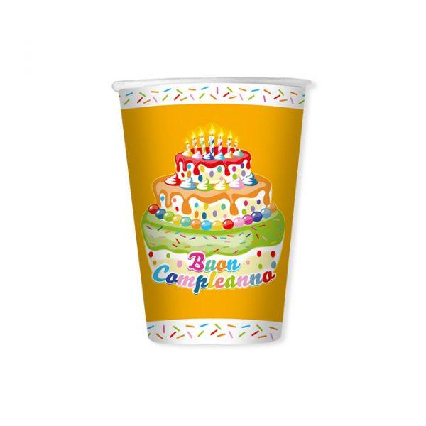 8 Bicchieri 200 cc Buon Compleanno Cake