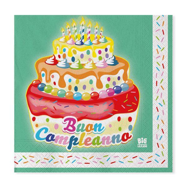 20 Tovaglioli 33 x 33 cm Buon Compleanno Cake