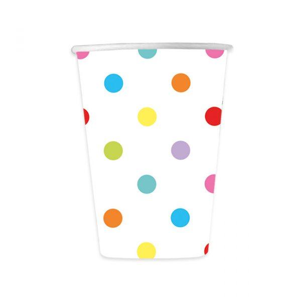 8 Bicchieri 200 cc Pois Multicolor