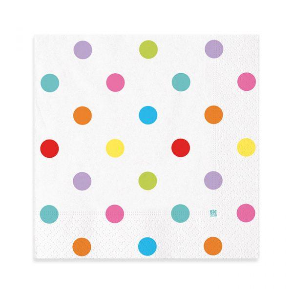 20 Tovaglioli 33 x 33 cm Pois Multicolor