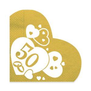 20 Tovaglioli Cuore 33 x 33 cm Nozze d Oro