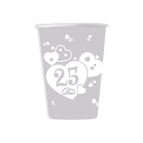 8 Bicchieri 200 cc Nozze d Argento