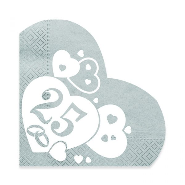20 Tovaglioli Cuore 33 x 33 cm Nozze d Argento