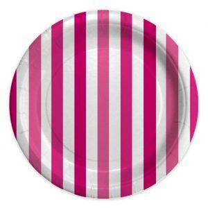 8 Piatti Ø 24 cm Stripes Fuxia