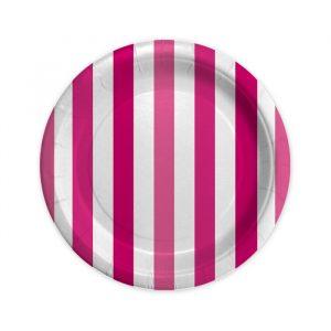 8 Piatti Ø 18 cm Stripes Fuxia