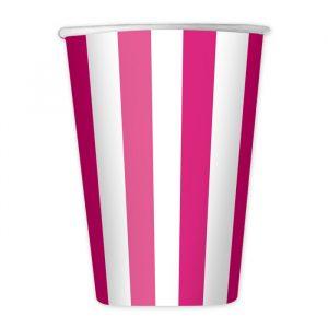 8 Bicchieri 200 cc Stripes Fuxia