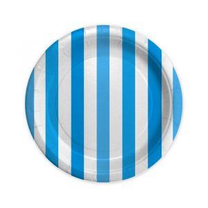 8 Piatti Ø 18 cm Stripes Turchese