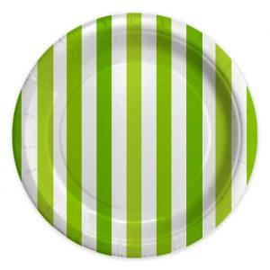 8 Piatti Ø 24 cm Stripes Verde Mela