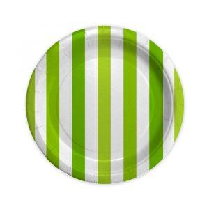 8 Piatti Ø 18 cm Stripes Verde Mela