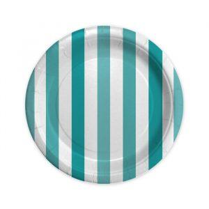 8 Piatti Ø 18 cm Stripes Acqua Marina