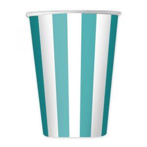8 Bicchieri 200 cc Stripes Acqua Marina