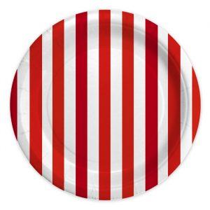 8 Piatti Ø 24 cm Stripes Rosso
