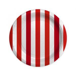 8 Piatti Ø 18 cm Stripes Rosso