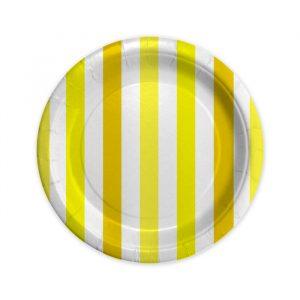 8 Piatti Ø 18 cm Stripes Giallo
