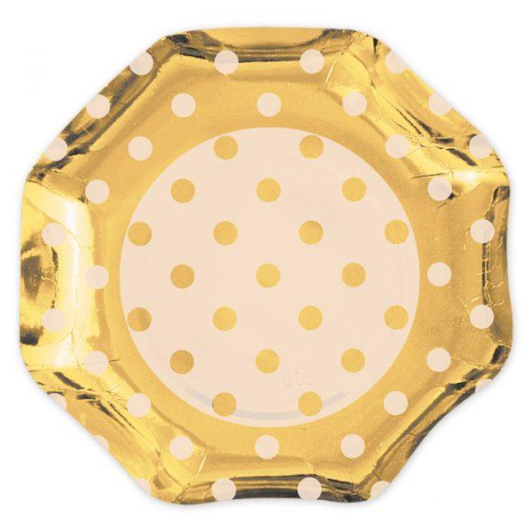 5 Piatti Ø 27 cm Pois Oro Metal
