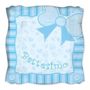 8 Piatti 24 x 24 cm Battesimo Baby Celeste