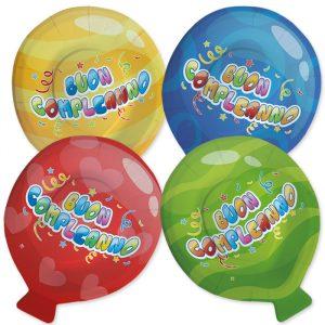 8 Piatti MIX 20 x 25 cm Buon Compleanno Balloon
