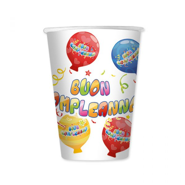 8 Bicchieri 200 cc Buon Compleanno Balloon