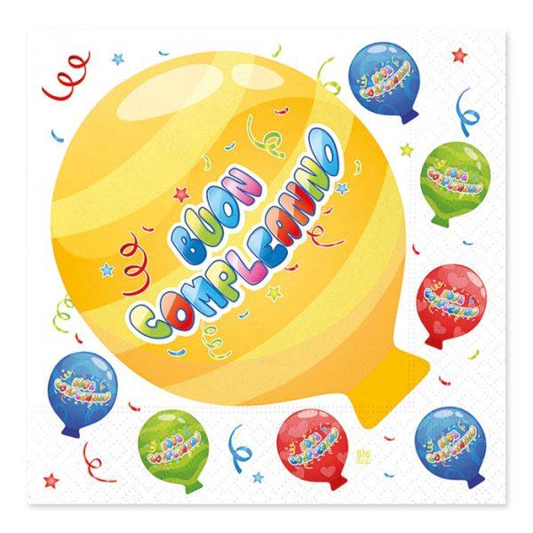 20 Tovaglioli 33 x 33 cm Buon Compleanno Balloon