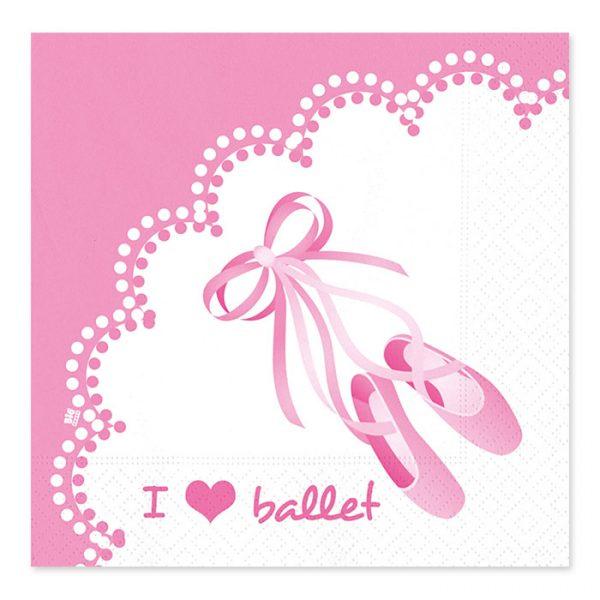 20 Tovaglioli 33 x 33 cm I Love Ballet