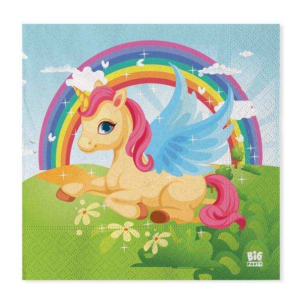 20 Tovaglioli 33 x 33 cm Unicorni