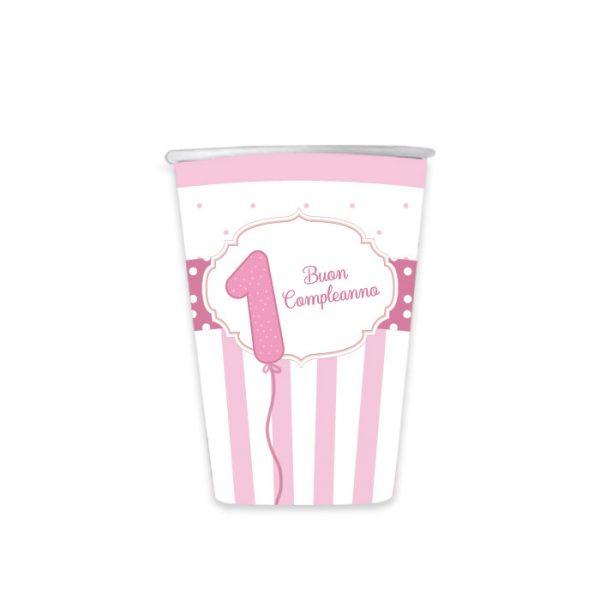 8 Bicchieri 200 cc Buon Primo Compleanno Rosa