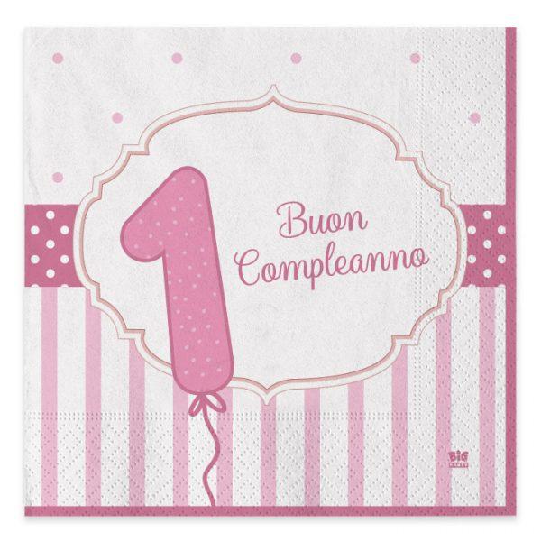 20 Tovaglioli 33 x 33 cm Buon Primo Compleanno Rosa