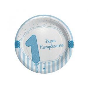 8 Piatti Ø 18 cm Buon Primo Compleanno Celeste