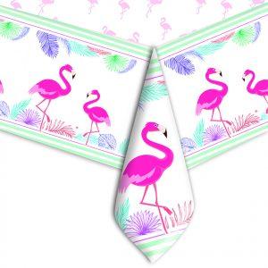 Tovaglia in plastica 140 x 270 cm Flamingo Party