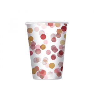 8 Bicchieri 200 cc Coriandoli Rosa