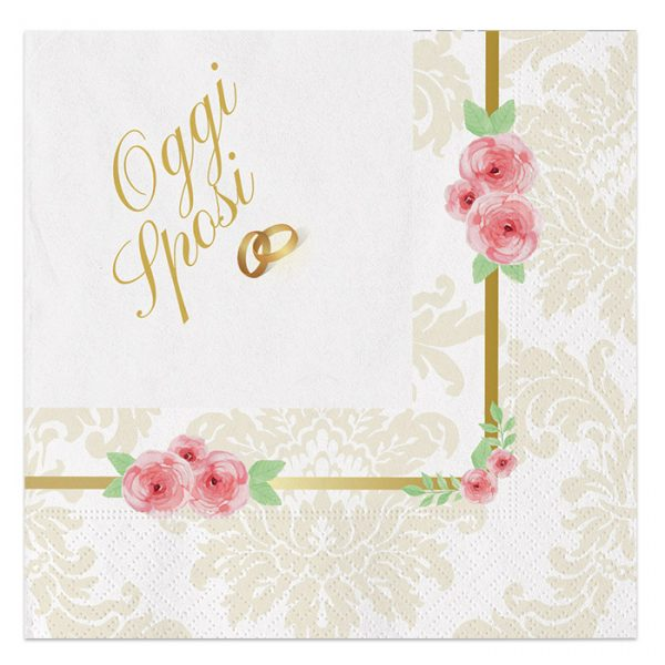 20 Tovaglioli 33 x 33 cm Romantic Wedding
