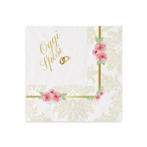 20 Tovaglioli 25 x 25 cm Romantic Wedding