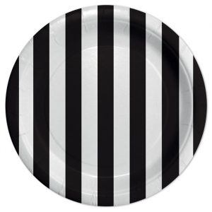8 Piatti Ø 24 cm Stripes Nero