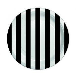 8 Piatti Ø 18 cm Stripes Nero