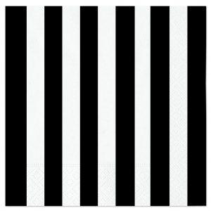 20 Tovaglioli 33 x 33 cm Stripes Nero