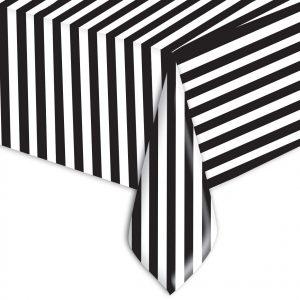 Tovaglia in plastica 140 x 270 cm  Stripes Nero