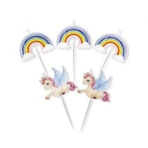 5 Candeline Picks 8 cm Unicorni