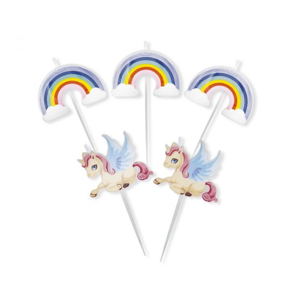 5 Candeline Picks 8 cm Unicorni
