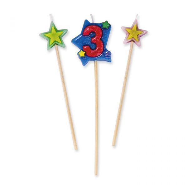 3 Candeline Picks 16 cm Numero 3